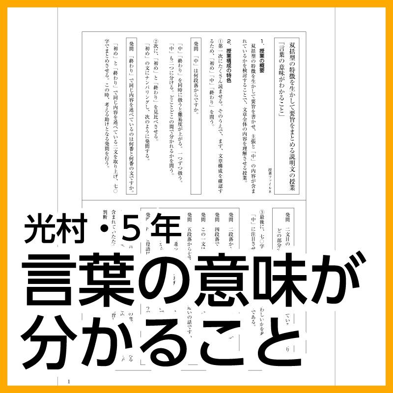 TOSSオリジナル教材 / 【DL版】5年生「言葉の意味が分かること」(光村図書)
